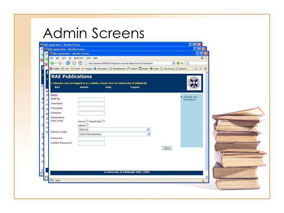 Admin Screens