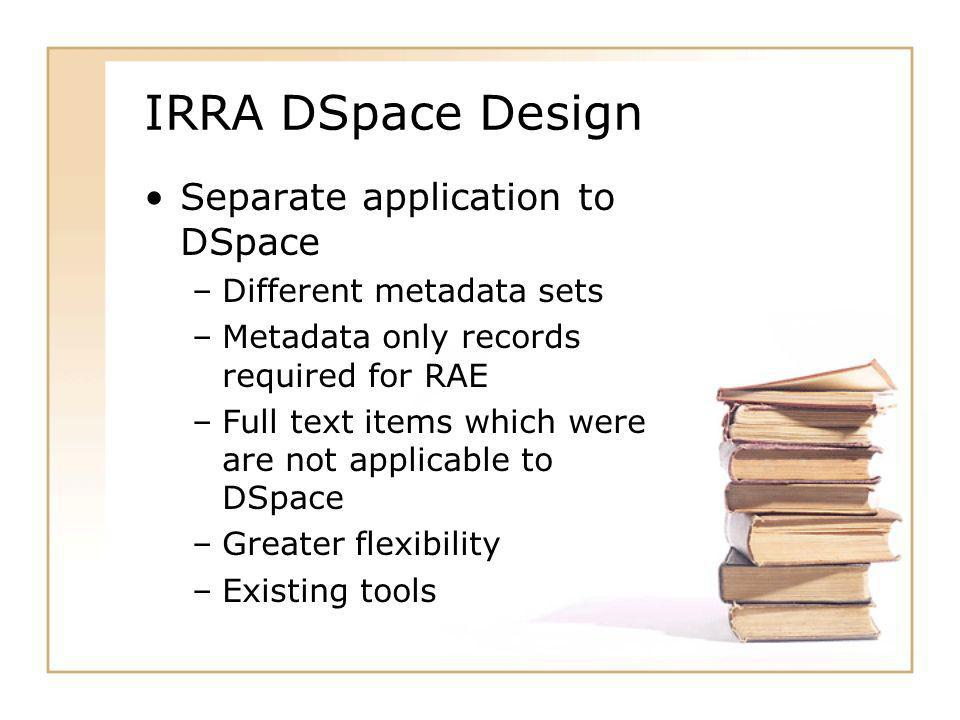 IRRA DSpace Design Separate application to DSpace –Different metadata sets –Metadata only records required for RAE –Full text items which were are not