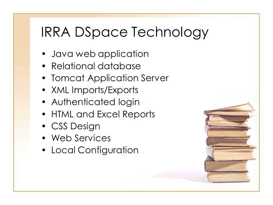 IRRA DSpace Technology Java web application Relational database Tomcat Application Server XML Imports/Exports Authenticated login HTML and Excel Repor