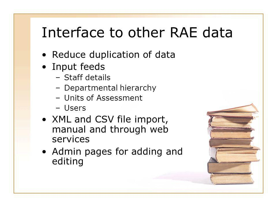 Interface to other RAE data Reduce duplication of data Input feeds –Staff details –Departmental hierarchy –Units of Assessment –Users XML and CSV file