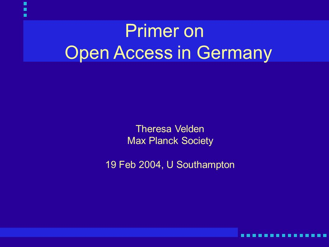 Open Access in Germany 5 Nov 2002: Hochschulrektoren Konferenz (Conference of German Universities) - http://www.hrk.de/e/812.htm - alternative, disaggregated publishing system, university publication servers, increase competition - recommend: 1FTE for 3 years plus 50 T Euro for hardware/software for instituitional repository @ each U.