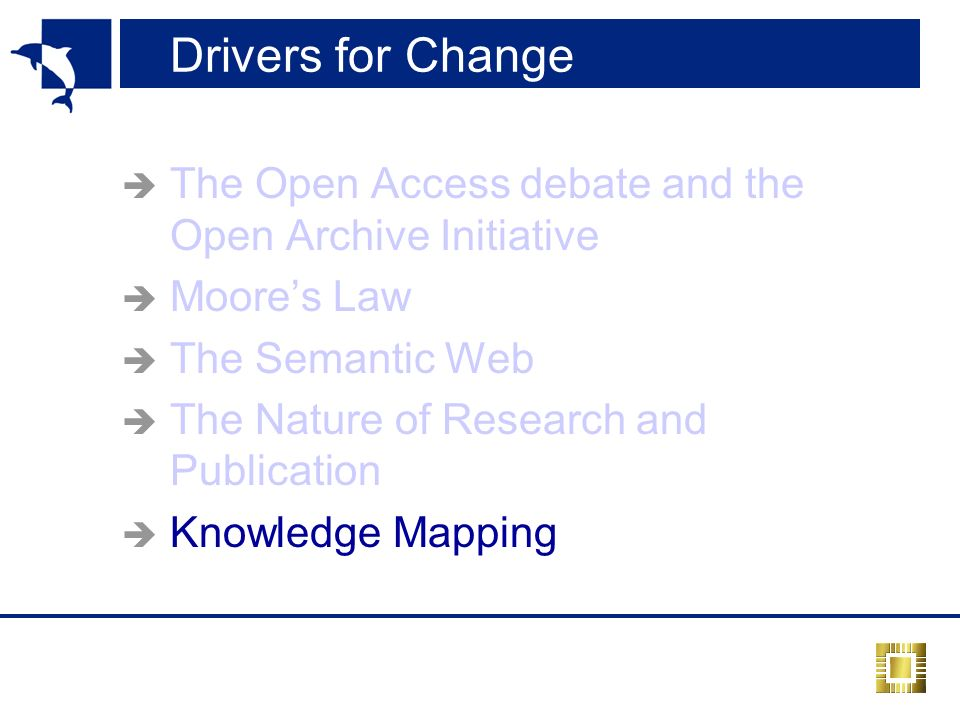 Drivers for Change The Open Access debate and the Open Archive Initiative Moores Law The Semantic Web The Nature of Research and Publication Knowledge