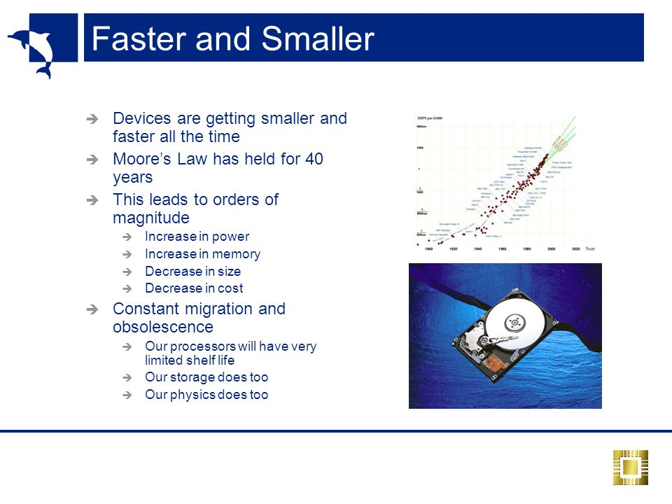 Faster and Smaller Devices are getting smaller and faster all the time Moores Law has held for 40 years This leads to orders of magnitude Increase in power Increase in memory Decrease in size Decrease in cost Constant migration and obsolescence Our processors will have very limited shelf life Our storage does too Our physics does too