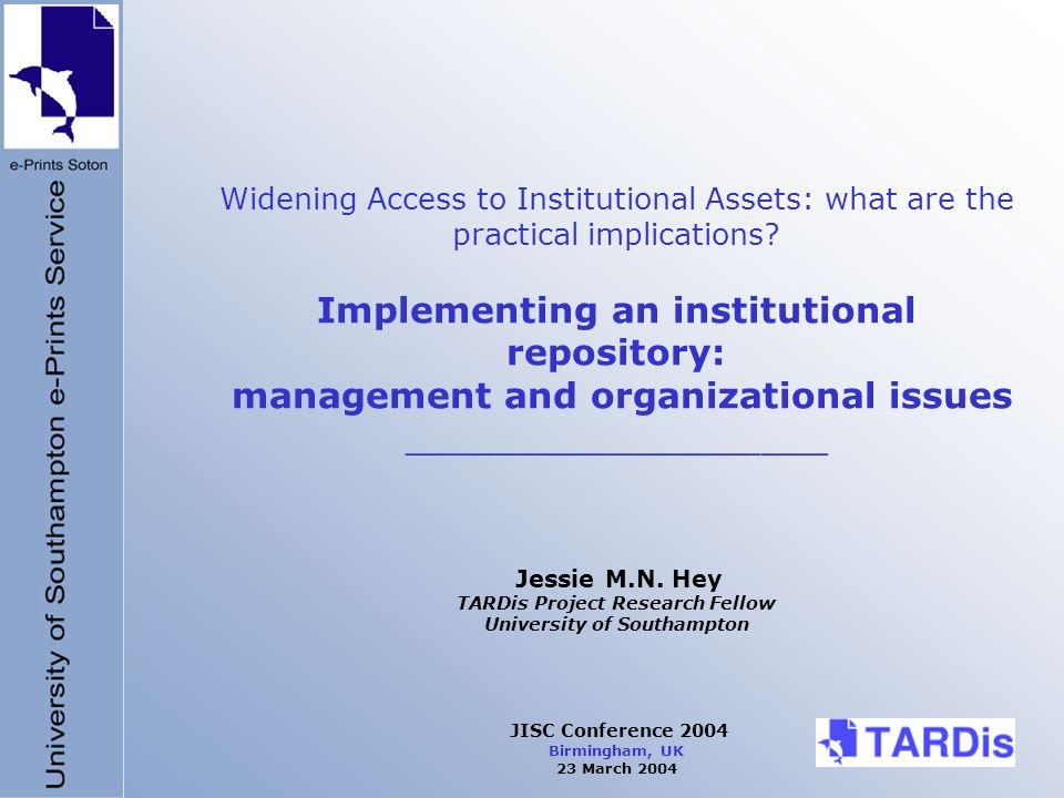 Widening Access to Institutional Assets: what are the practical implications.