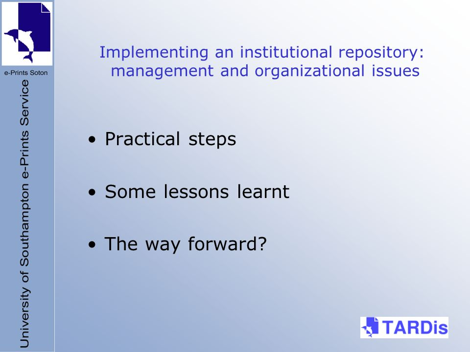 Implementing an institutional repository: management and organizational issues Practical steps Some lessons learnt The way forward