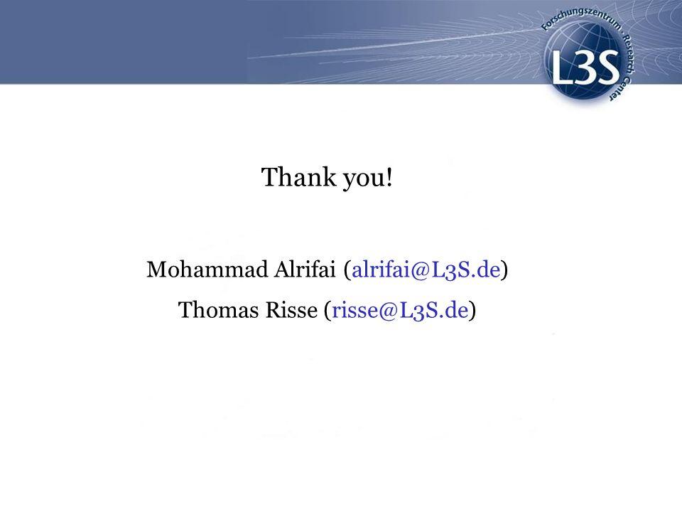 Thank you! Mohammad Alrifai (alrifai@L3S.de) Thomas Risse (risse@L3S.de)