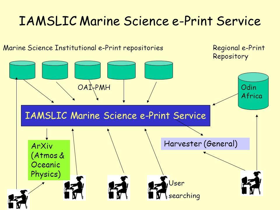 IAMSLIC Marine Science e-Print Service Marine Science Institutional e-Print repositories IAMSLIC Marine Science e-Print Service Harvester (General) Regional e-Print Repository Odin Africa ArXiv (Atmos & Oceanic Physics) User searching OAI-PMH