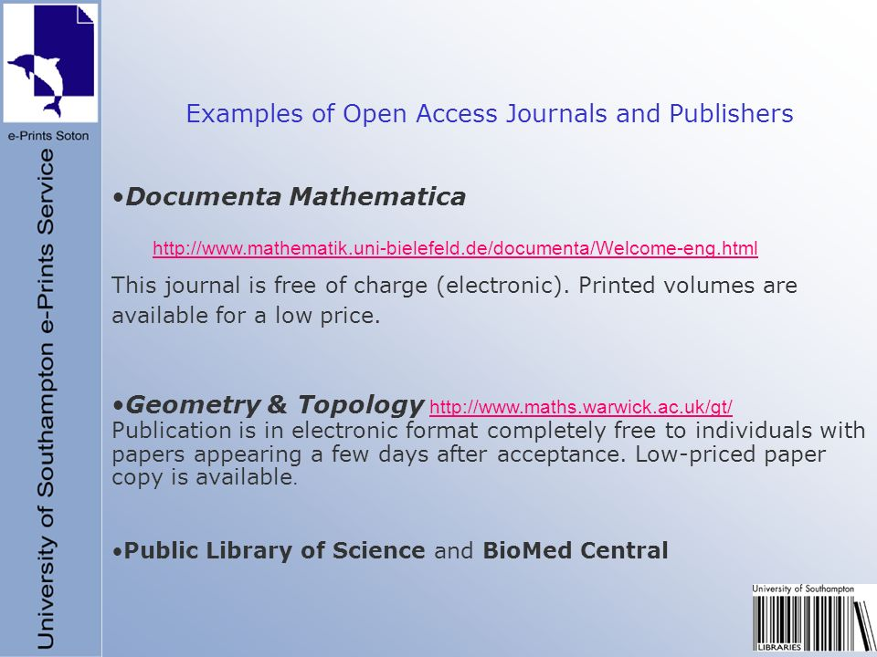 Documenta Mathematica http://www.mathematik.uni-bielefeld.de/documenta/Welcome-eng.html This journal is free of charge (electronic). Printed volumes a