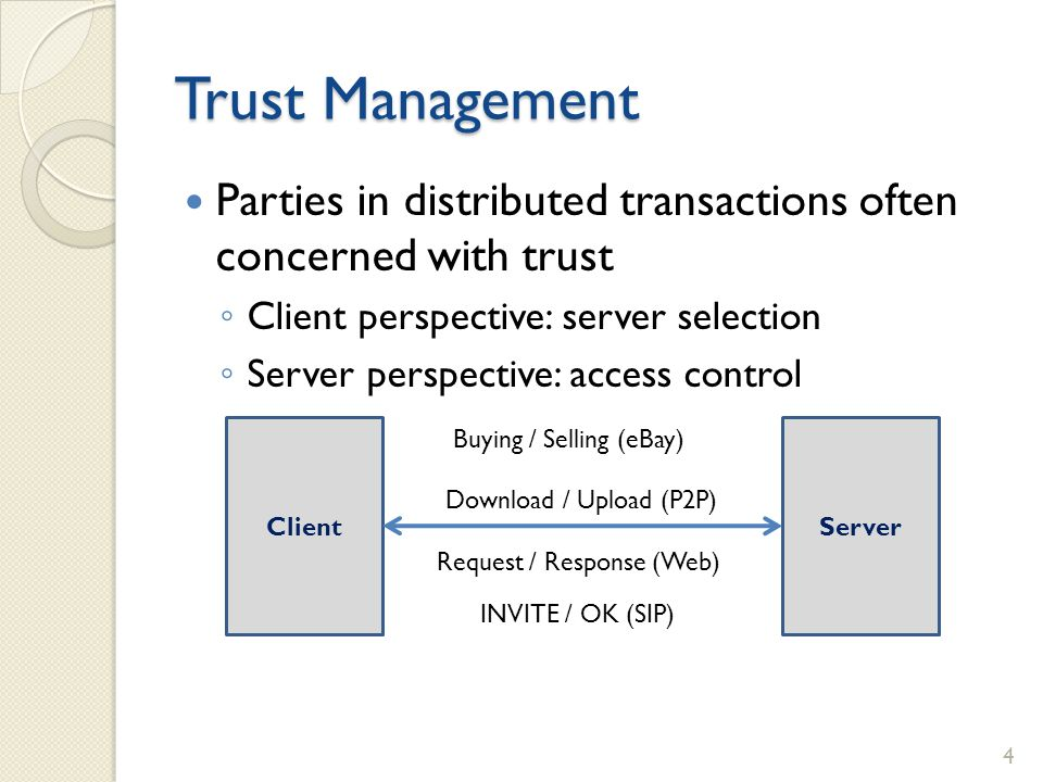Trust Management Parties in distributed transactions often concerned with trust Client perspective: server selection Server perspective: access control ClientServer Buying / Selling (eBay) Download / Upload (P2P) Request / Response (Web) INVITE / OK (SIP) 4
