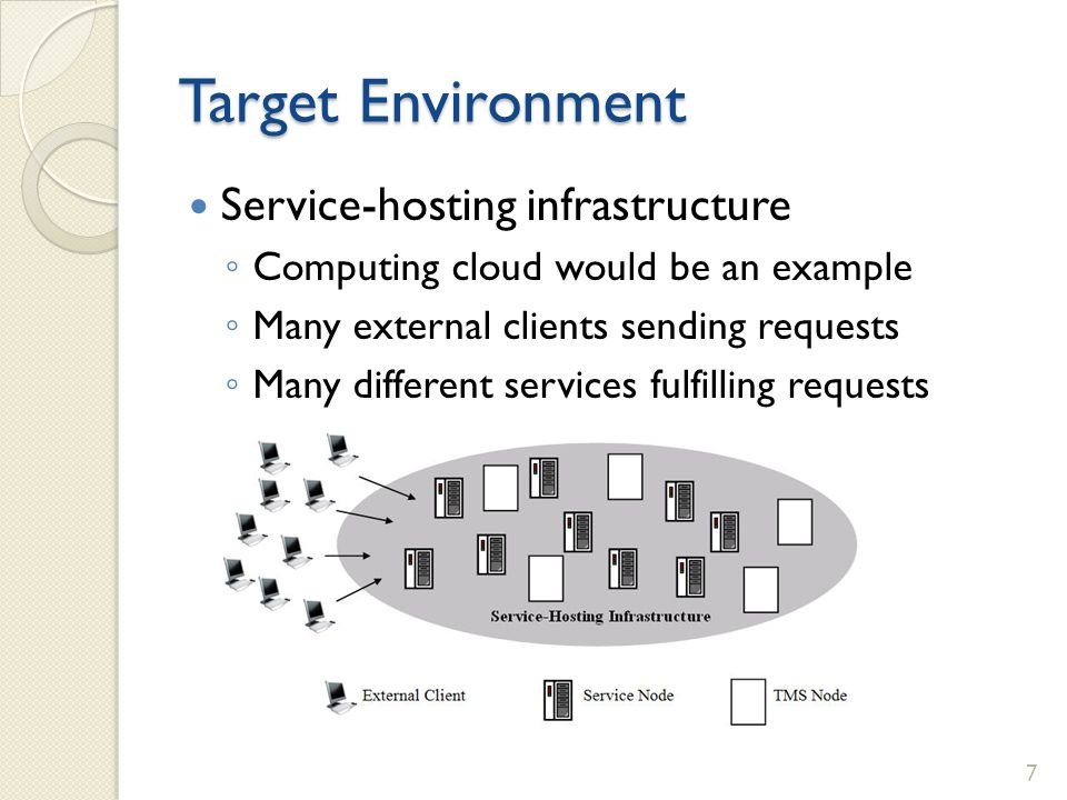 Target Environment Service-hosting infrastructure Computing cloud would be an example Many external clients sending requests Many different services f