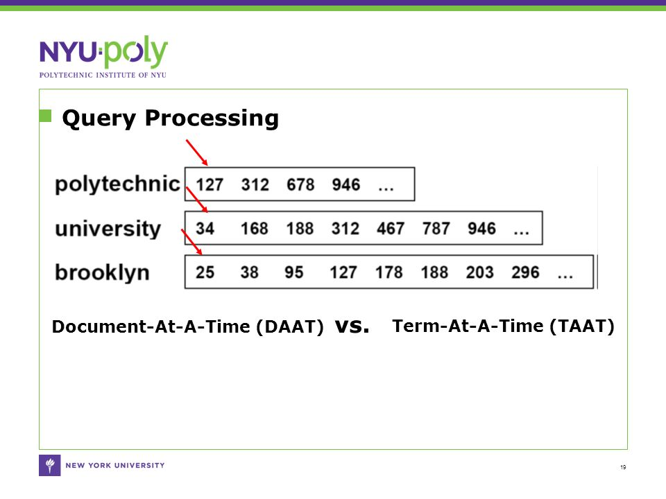 Query Processing 19 Document-At-A-Time (DAAT) vs. Term-At-A-Time (TAAT)