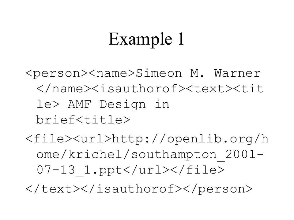 Example 1 Simeon M.