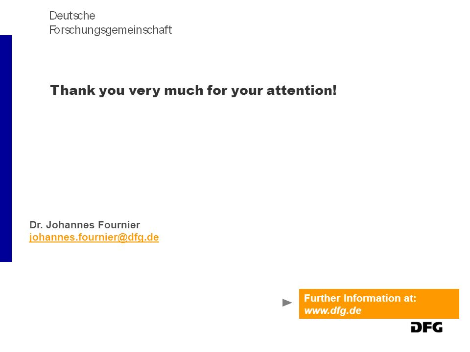 Thank you very much for your attention! Further Information at: www.dfg.de Dr. Johannes Fournier johannes.fournier@dfg.de