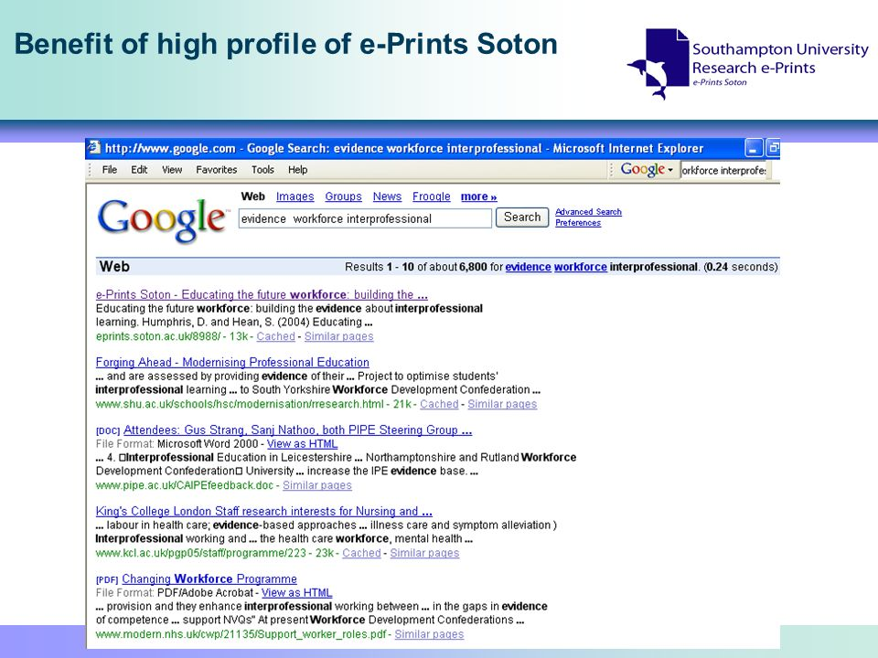 Benefit of high profile of e-Prints Soton