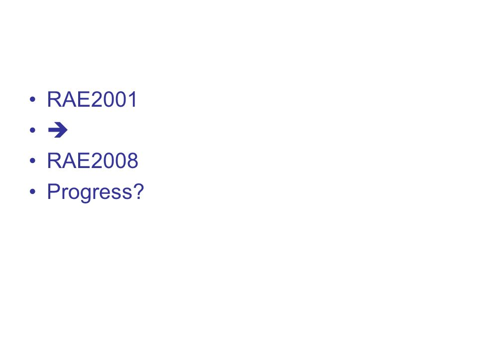 RAE2001 RAE2008 Progress?