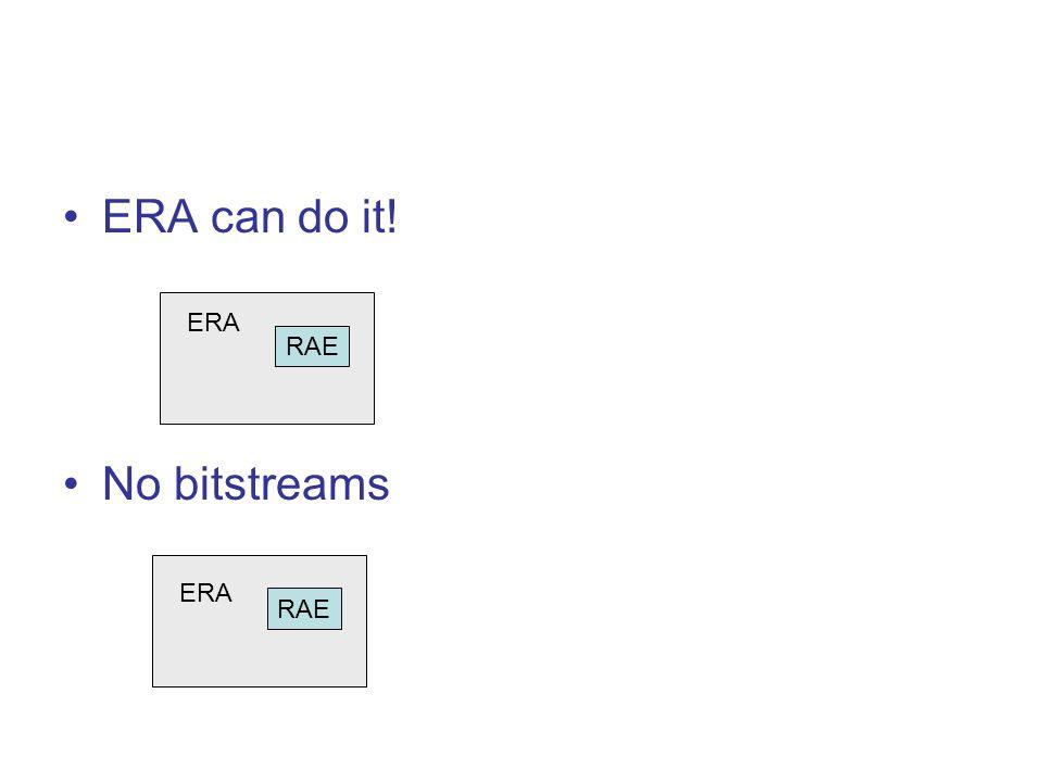 ERA can do it! No bitstreams RAE ERA RAE ERA