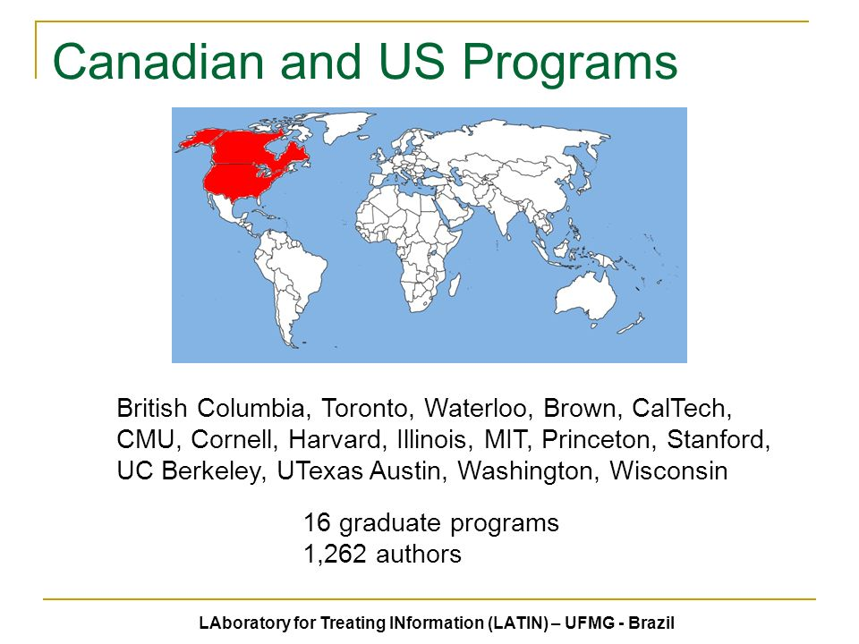Canadian and US Programs 16 graduate programs 1,262 authors British Columbia, Toronto, Waterloo, Brown, CalTech, CMU, Cornell, Harvard, Illinois, MIT, Princeton, Stanford, UC Berkeley, UTexas Austin, Washington, Wisconsin LAboratory for Treating INformation (LATIN) – UFMG - Brazil