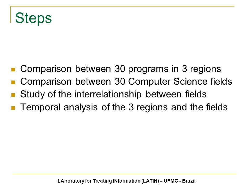 Steps Comparison between 30 programs in 3 regions Comparison between 30 Computer Science fields Study of the interrelationship between fields Temporal analysis of the 3 regions and the fields LAboratory for Treating INformation (LATIN) – UFMG - Brazil