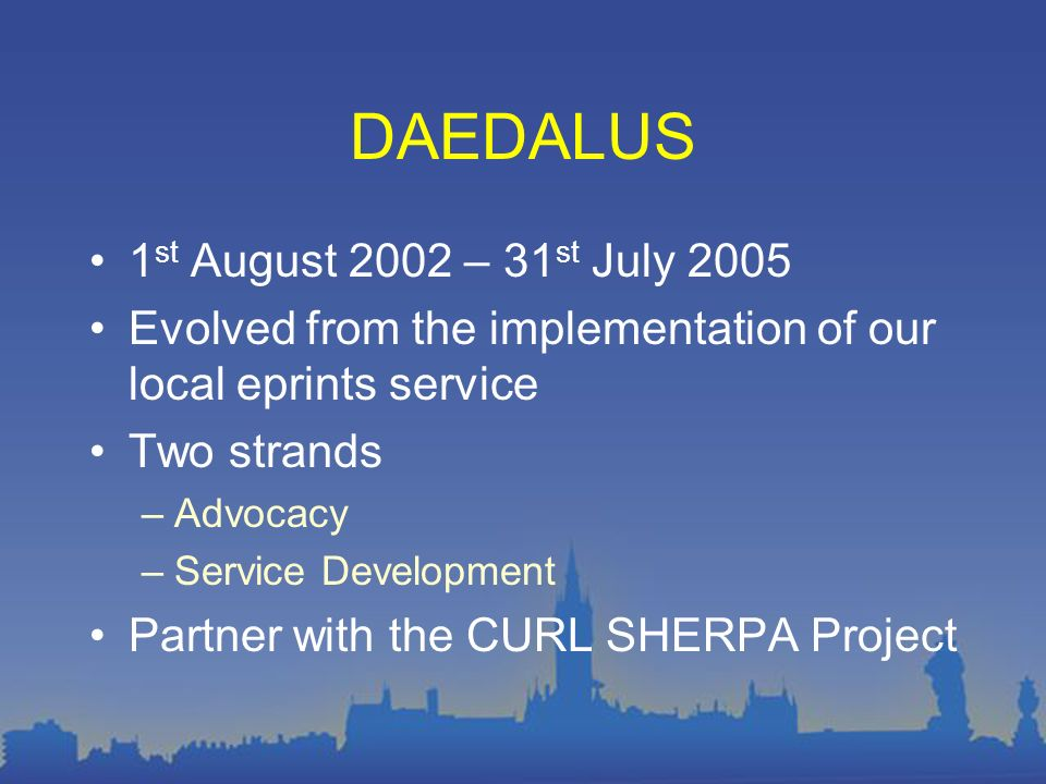 DAEDALUS – Freeing Research at the University of Glasgow http://www.gla.ac.uk/daedalus DAEDALUS