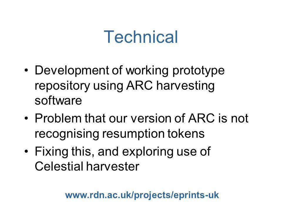 www.rdn.ac.uk/projects/eprints-uk Technical Development of working prototype repository using ARC harvesting software Problem that our version of ARC is not recognising resumption tokens Fixing this, and exploring use of Celestial harvester