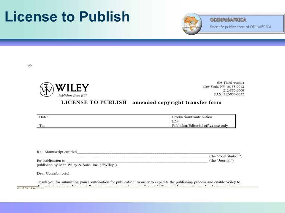 License to Publish