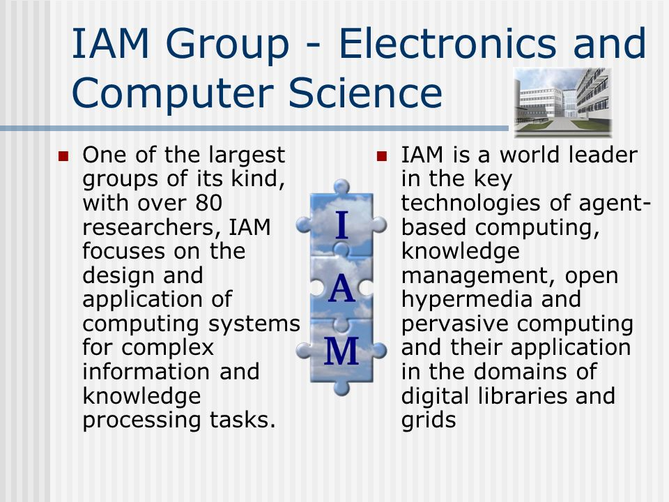 IAM Group - Electronics and Computer Science One of the largest groups of its kind, with over 80 researchers, IAM focuses on the design and application of computing systems for complex information and knowledge processing tasks.