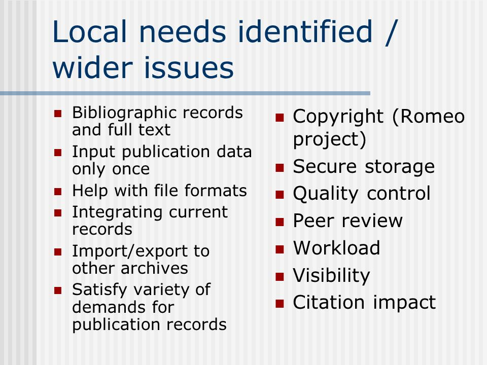Local needs identified / wider issues Bibliographic records and full text Input publication data only once Help with file formats Integrating current records Import/export to other archives Satisfy variety of demands for publication records Copyright (Romeo project) Secure storage Quality control Peer review Workload Visibility Citation impact