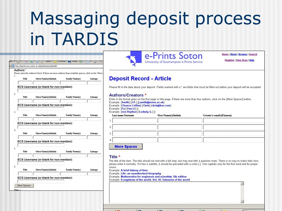 Massaging deposit process in TARDIS