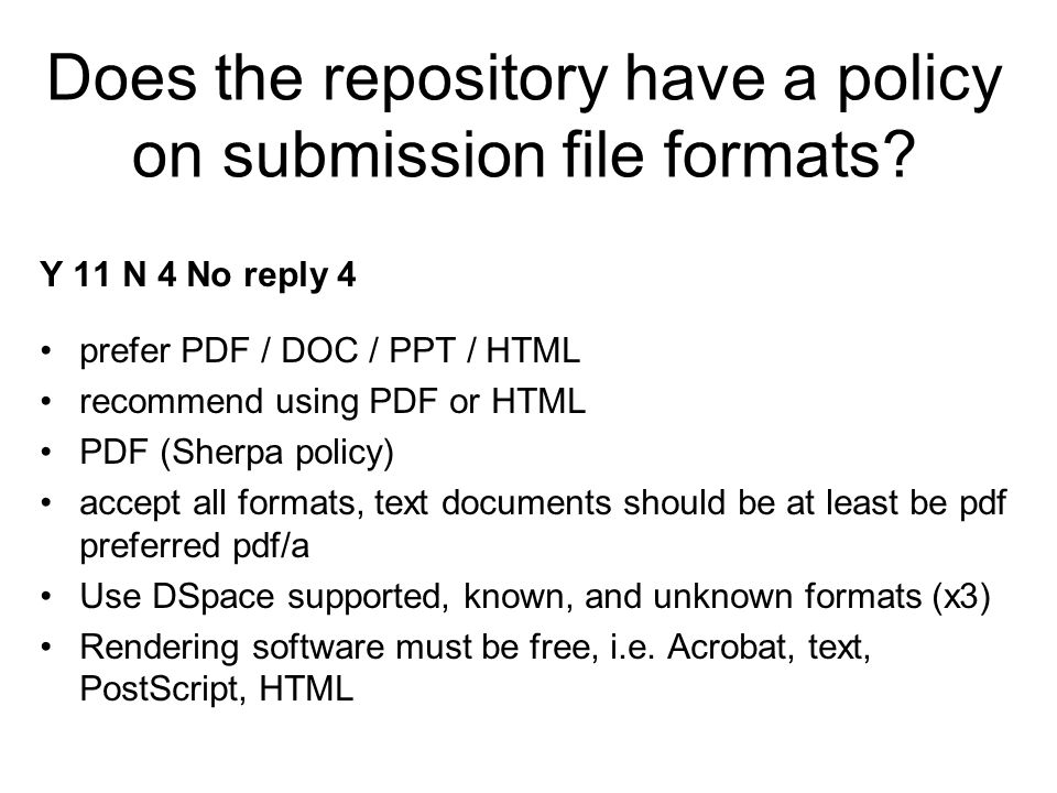 Does the repository have a policy on submission file formats.
