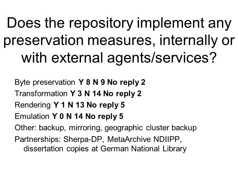 Does the repository implement any preservation measures, internally or with external agents/services.