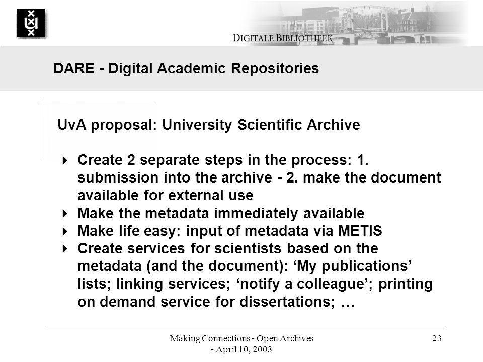 Making Connections - Open Archives - April 10, 2003 23 UvA proposal: University Scientific Archive Create 2 separate steps in the process: 1.