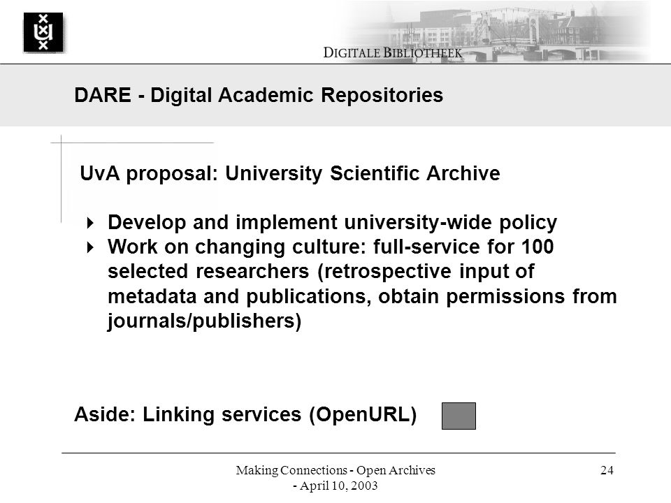 Making Connections - Open Archives - April 10, 2003 24 UvA proposal: University Scientific Archive Develop and implement university-wide policy Work on changing culture: full-service for 100 selected researchers (retrospective input of metadata and publications, obtain permissions from journals/publishers) DARE - Digital Academic Repositories Aside: Linking services (OpenURL)
