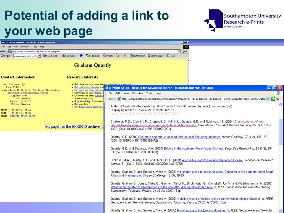 Potential of adding a link to your web page