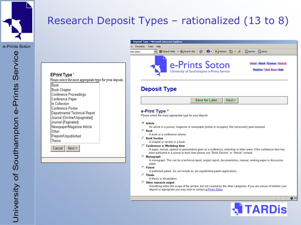 Research Deposit Types – rationalized (13 to 8)