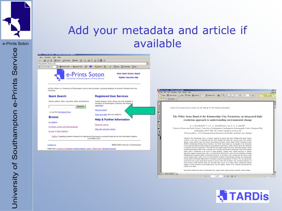 Add your metadata and article if available