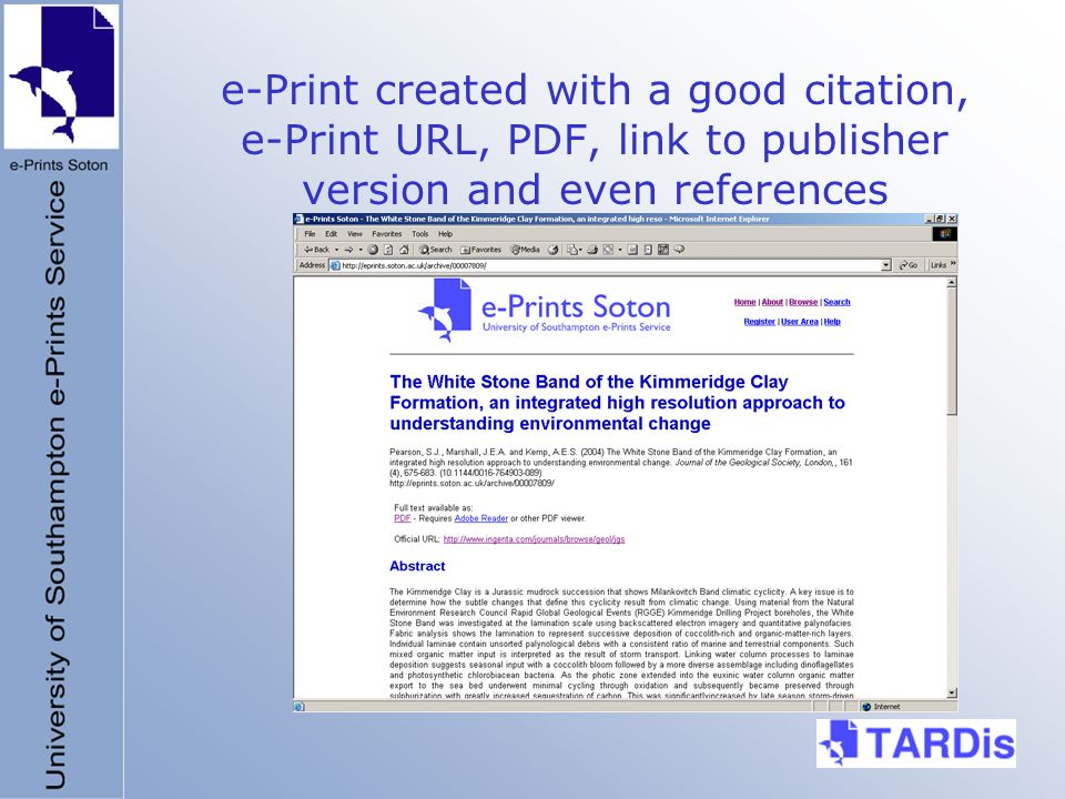 e-Print created with a good citation, e-Print URL, PDF, link to publisher version and even references