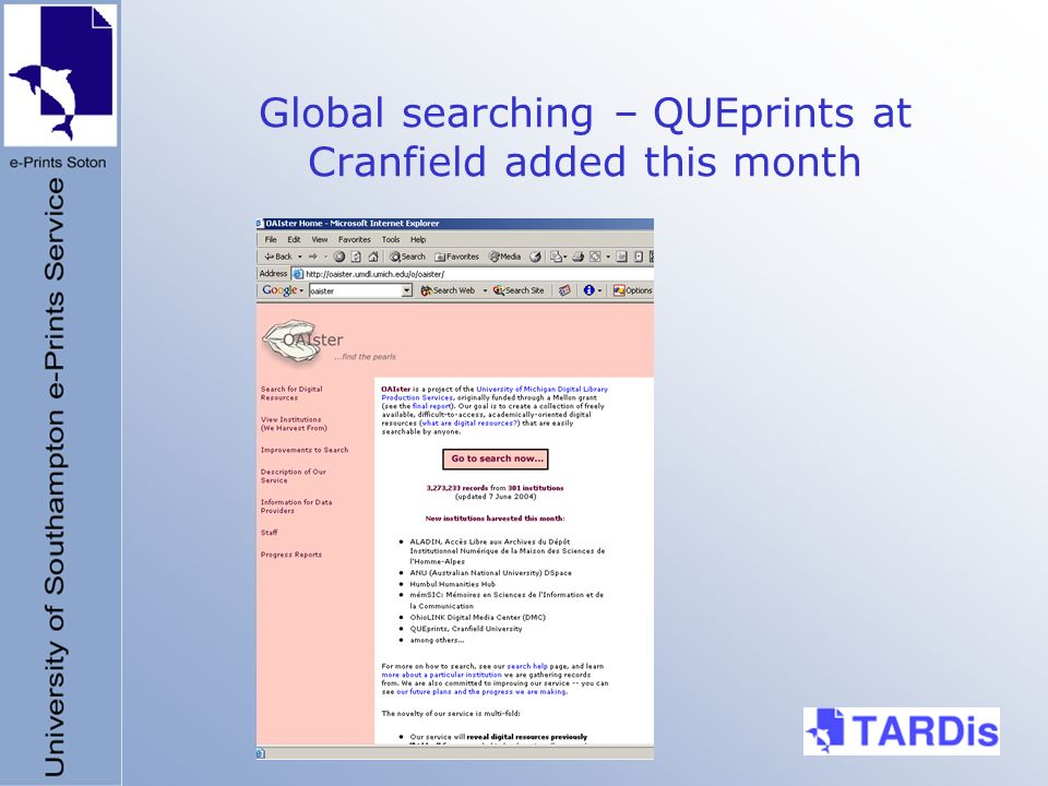 Global searching – QUEprints at Cranfield added this month