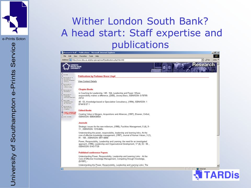 Wither London South Bank A head start: Staff expertise and publications