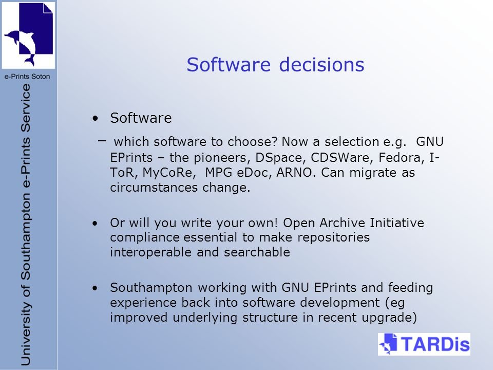 Software decisions Software – which software to choose.