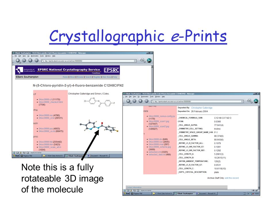 Crystallographic e-Prints Note this is a fully rotateable 3D image of the molecule