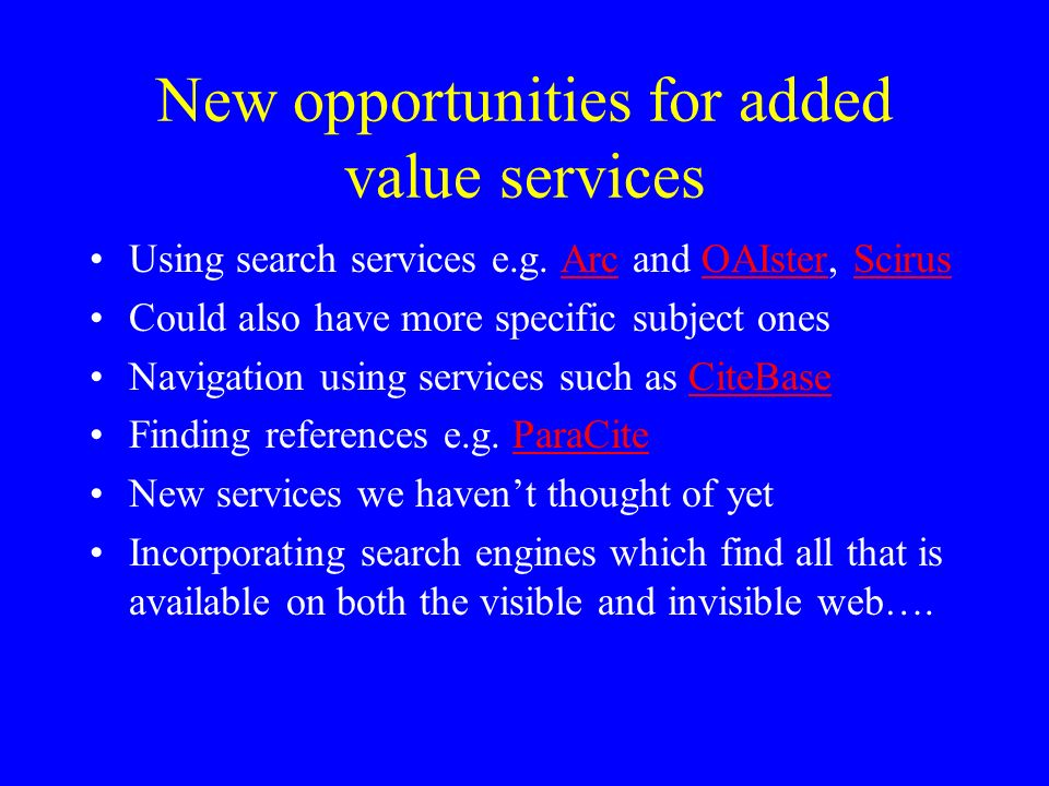 New opportunities for added value services Using search services e.g.