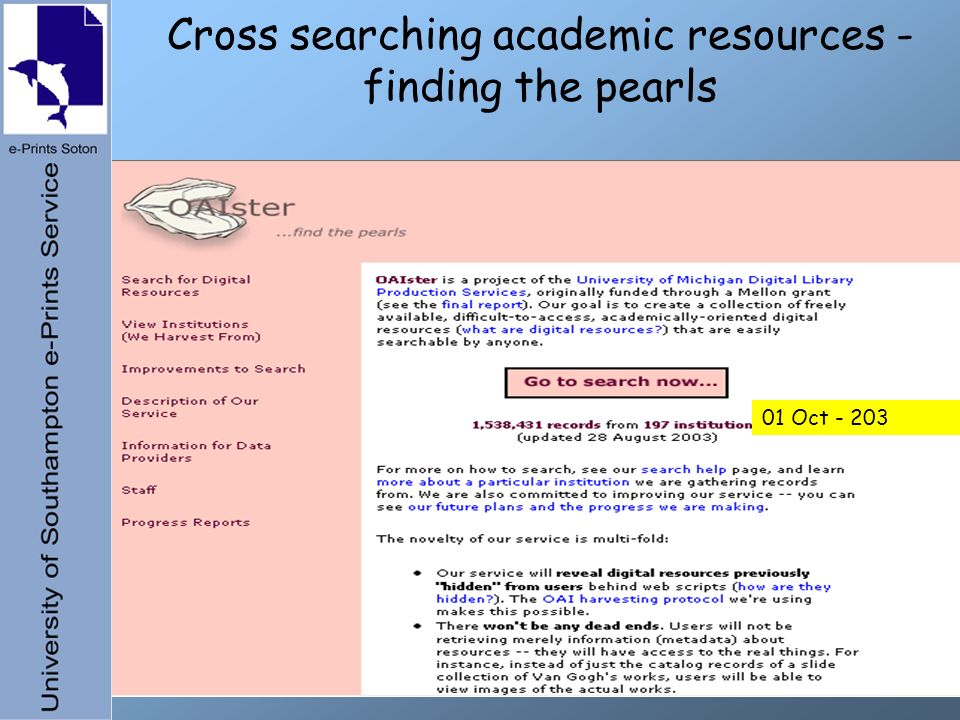 Cross searching academic resources - finding the pearls 01 Oct - 203
