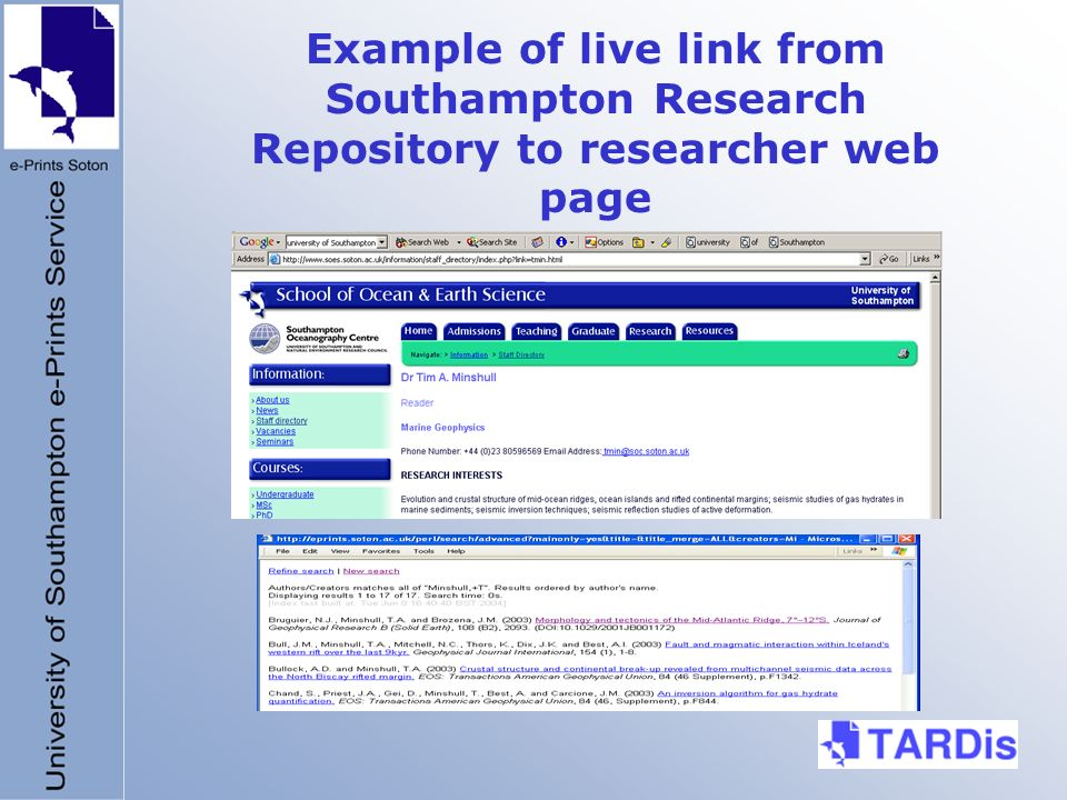 Example of live link from Southampton Research Repository to researcher web page