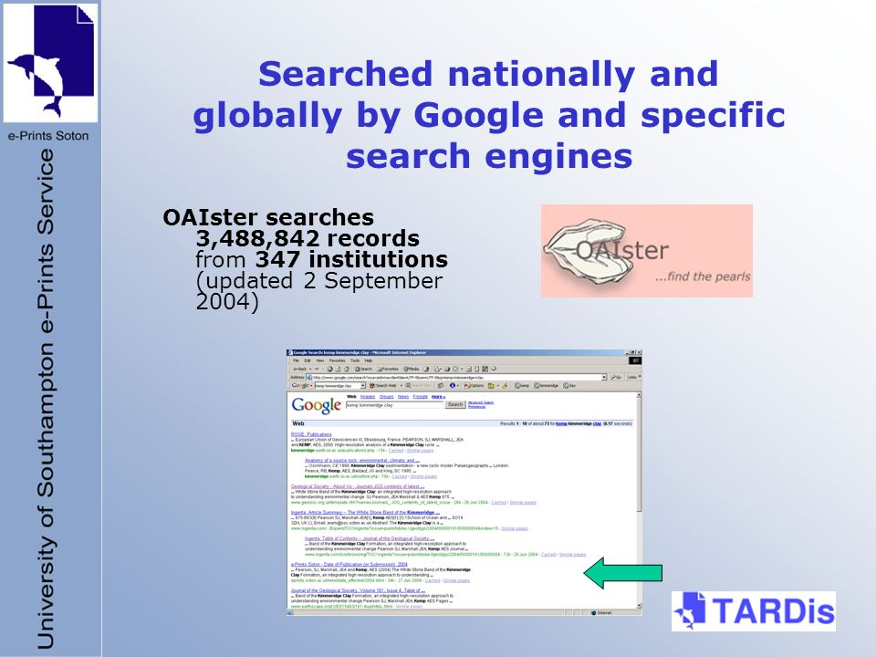 Searched nationally and globally by Google and specific search engines OAIster searches 3,488,842 records from 347 institutions (updated 2 September 2004)