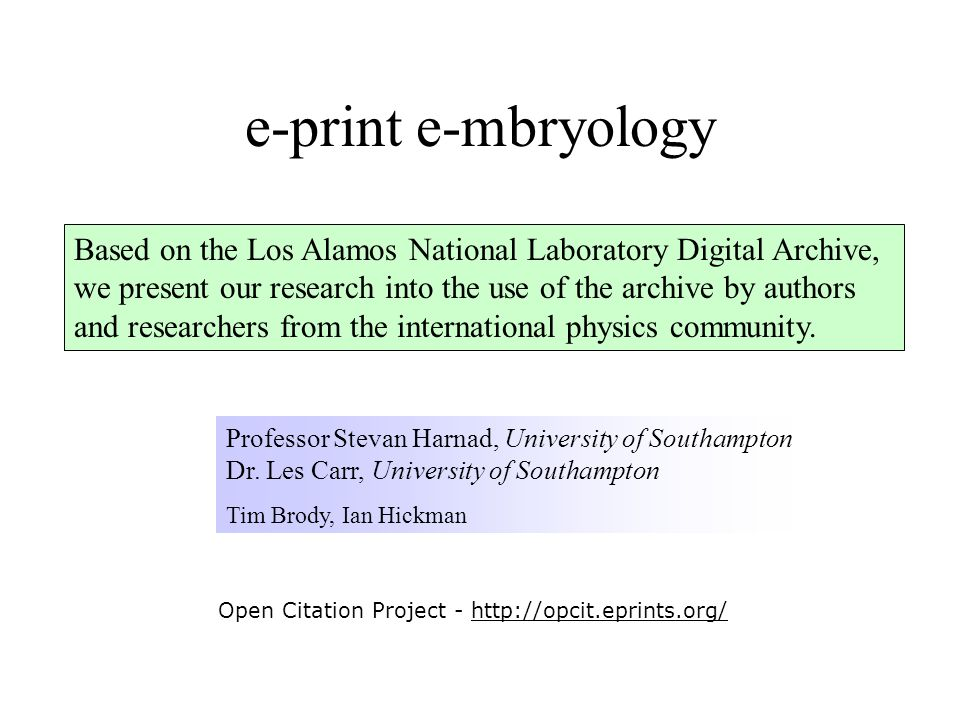Based on the Los Alamos National Laboratory Digital Archive, we present our research into the use of the archive by authors and researchers from the i