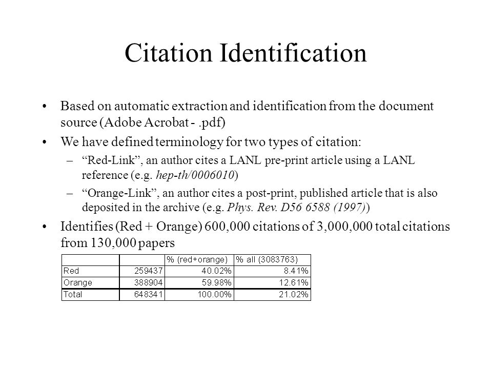 Citation Identification Based on automatic extraction and identification from the document source (Adobe Acrobat -.pdf) We have defined terminology for two types of citation: –Red-Link, an author cites a LANL pre-print article using a LANL reference (e.g.