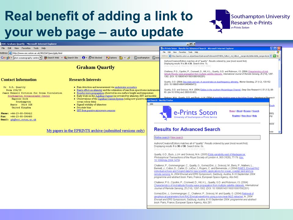 Real benefit of adding a link to your web page – auto update