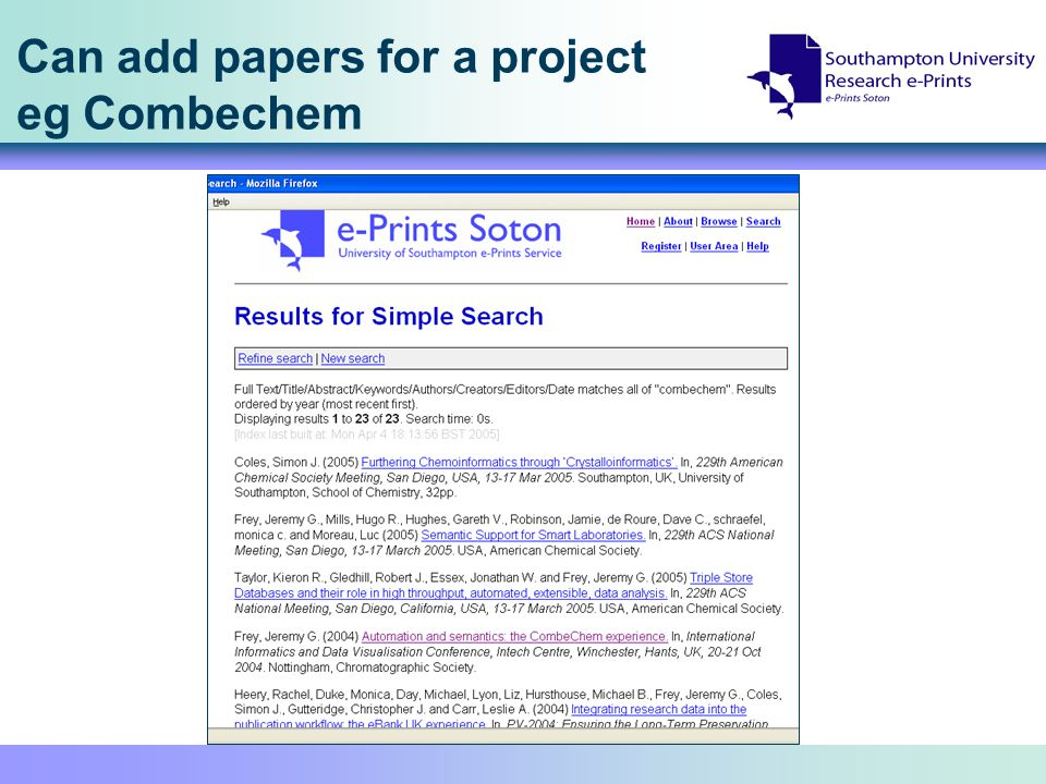Can add papers for a project eg Combechem