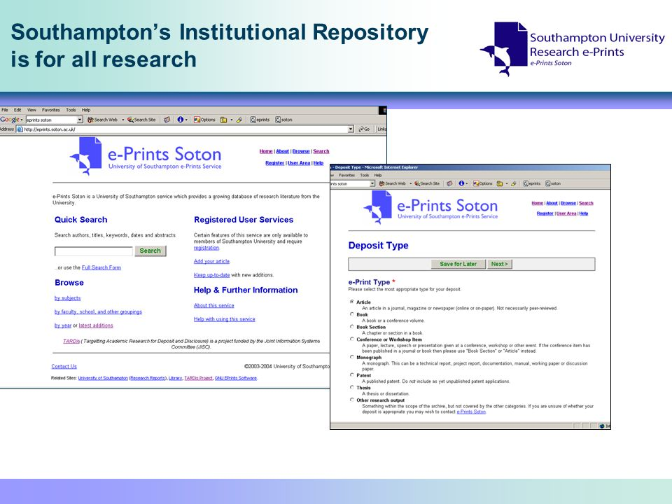 Southamptons Institutional Repository is for all research