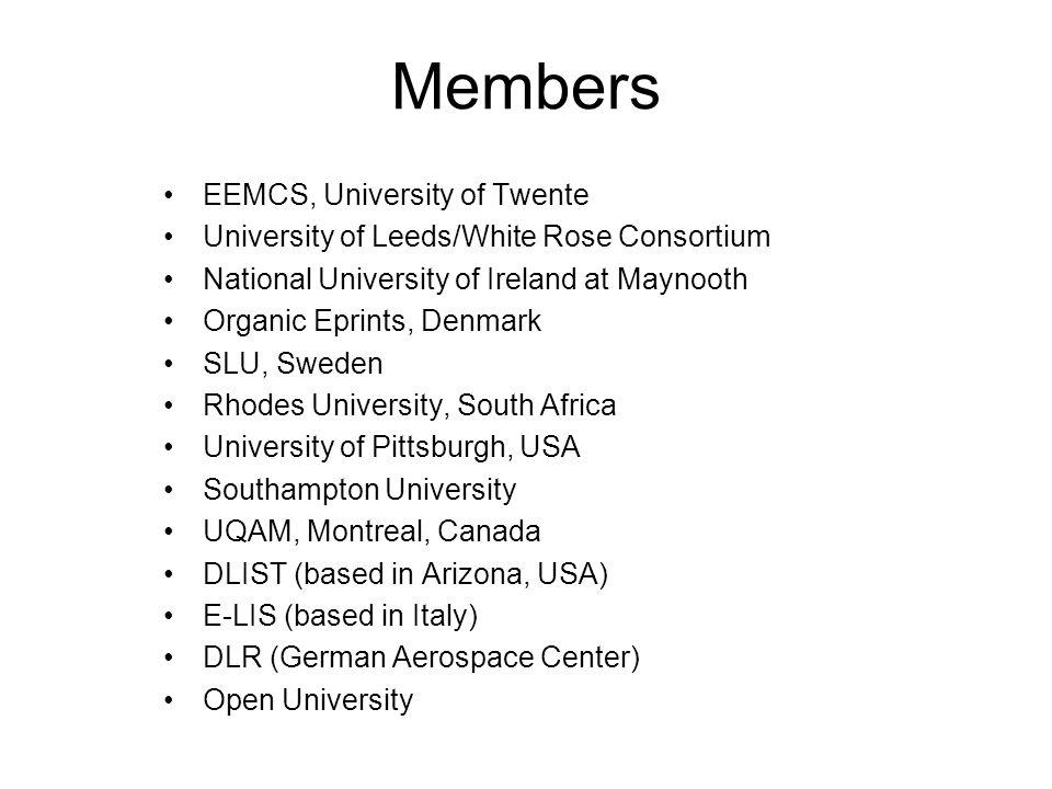 Members EEMCS, University of Twente University of Leeds/White Rose Consortium National University of Ireland at Maynooth Organic Eprints, Denmark SLU,